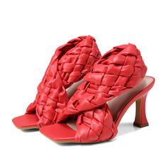 Women's PU Stiletto Heel Sandals Pumps Peep Toe Square Toe With Hollow-out Braided Strap shoes