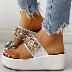 Women's PU Wedge Heel Sandals Platform Wedges Peep Toe Slippers Toe Ring With Rhinestone Buckle Chain shoes