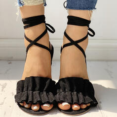 Women's Cloth Low Heel Sandals Peep Toe Slippers With Solid Color Bandage shoes