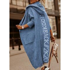 Print Pocket Hooded Casual Cardigan