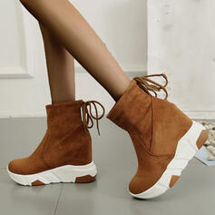 Women's Suede Wedge Heel Ankle Boots Round Toe With Lace-up Solid Color shoes
