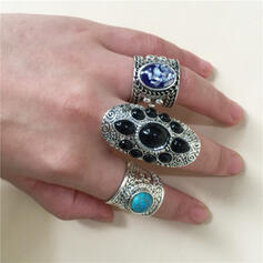 Exotic Boho Alloy Resin Turquoise With Resin Rings 3 PCS