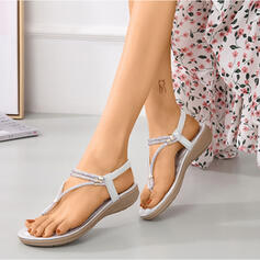 Women's Leatherette Flat Heel Sandals Flats Slingbacks Slippers With Rhinestone shoes