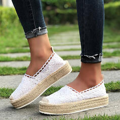 Women's PU Flat Heel Flats With Stitching Lace Hollow-out Others Splice Color shoes