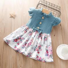 Toddler Girl Bowknot Button Floral Print Dress