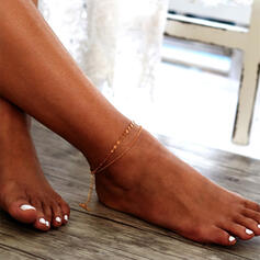 Simple Layered Alloy Anklets (Set of 2)