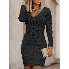 Print Long Sleeves Bodycon Above Knee Little Black/Casual/Elegant Dresses