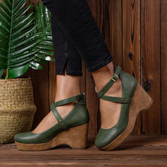PU Wedge Heel Closed Toe Wedges With Buckle shoes