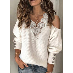 Solid Lace V-Neck Cold Shoulder Casual Sweaters