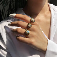 Chic Boho Alloy Turquoise With Gem Rings 3 PCS
