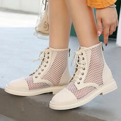 Women's PU Low Heel Martin Boots High Top Round Toe With Zipper Lace-up Hollow-out shoes