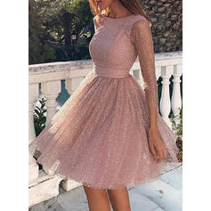 Solid 3/4 Sleeves A-line Knee Length Vintage/Sexy/Party Dresses