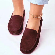 Women's Suede Flat Heel Flats With Solid Color shoes