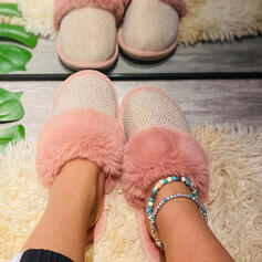 Women's Suede Flat Heel Flats Slippers With Rhinestone Faux-Fur shoes