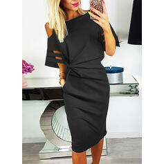 Solid 1/2 Sleeves/Cold Shoulder Sleeve Bodycon Knee Length Little Black/Casual/Elegant Dresses