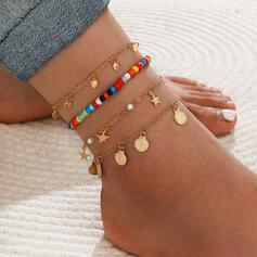 Boho Layered Alloy Beads Anklets (Set of 4)