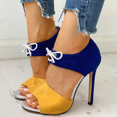 Women's PU Stiletto Heel Peep Toe With Lace-up shoes