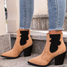Women's PU Chunky Heel Boots Heels Pointed Toe With Elastic Band Solid Color shoes