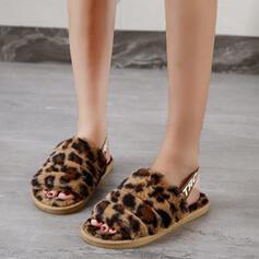 Kids' Suede Flat Heel Peep Toe Slippers With Animal Print Elastic Band Colorblock shoes