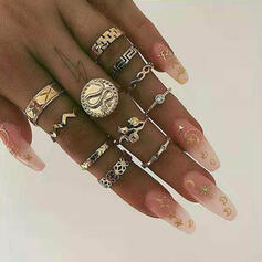 Fashionable Vintage Alloy With Rhinestones Rings (set of 11)