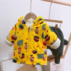 Baby Girl Cartoon Hooded Print Cotton Outerwear