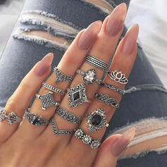 Stylish Alloy With Imitation Stones Jewelry Sets Rings (Set of 15 pairs)