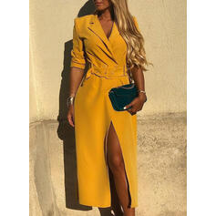 Solid 3/4 Sleeves Sheath Casual/Elegant Midi Dresses