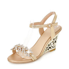 Women's PU Wedge Heel Sandals Pumps Wedges Peep Toe Slingbacks With Rhinestone shoes