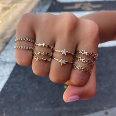 Stylish Alloy With Star Rings (Set of 10)