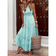 Lace/PolkaDot Sleeveless A-line Casual/Vacation Maxi Dresses