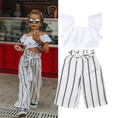 2-pieces Toddler Girl Bowknot Striped Cotton Sets