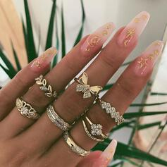 Charming Alloy With Butterfly Rhinestones Leaf Rings (Set of 7)