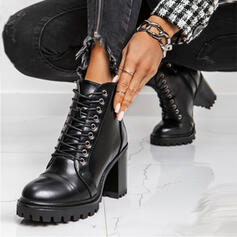 Women's PU Chunky Heel Riding Boots High Top Round Toe With Lace-up shoes