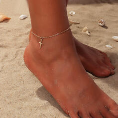 Simple Cross Alloy Anklets