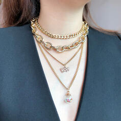 Fashionable Copper Glass Jewelry Sets Necklaces (4 pieces)