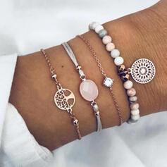 Elegant Alloy Beads With Rhinestone Tag Bracelets (Set of 4)