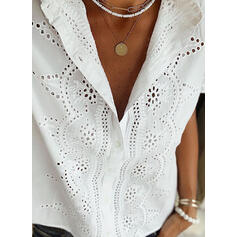 Solid Lace V-Neck Short Sleeves Button Up Casual Blouses