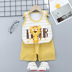 2-pieces Baby Boy Cartoon Striped Print Cotton Set
