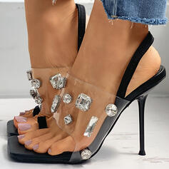 Women's PU Stiletto Heel Closed Toe With Rhinestone shoes