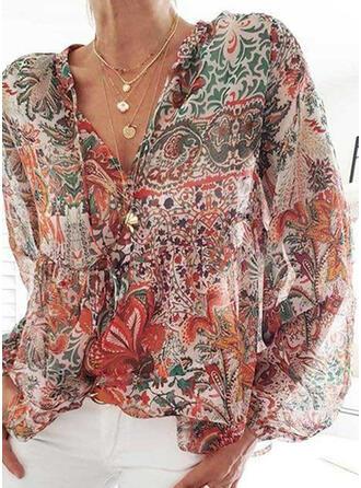 Print Floral V-Neck Lantern Sleeve Long Sleeves Casual Blouses