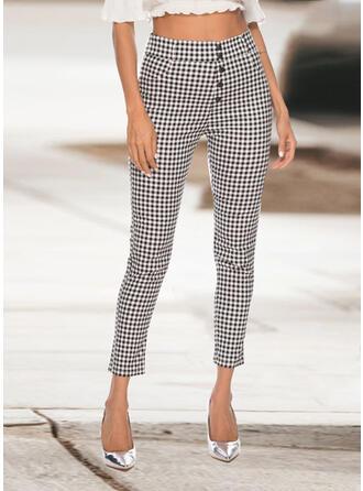 Solid Plaid midi Casual Plain Pants