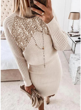 Sequins Stand Collar Casual Sweater Dress