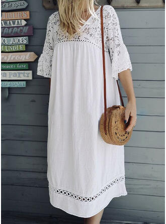 Lace/Solid 1/2 Sleeves/Flare Sleeves Shift Little Black/Casual/Vacation Midi Dresses