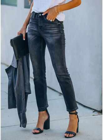 Shirred Cropped Elegant Sexy Denim & Jeans