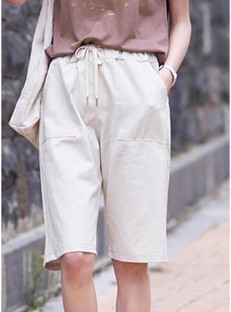 Pockets Shirred Plus Size Knee-length Casual Elegant Shorts