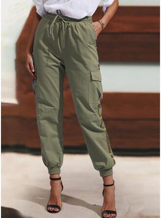 Pockets Shirred Drawstring Long Casual Skinny Tribal Pants