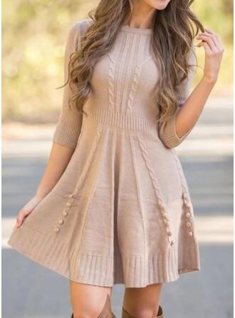 Solid 3/4 Sleeves A-line Above Knee Little Black/Elegant Sweater/Skater Dresses