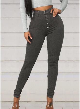 Shirred Long Elegant Sexy Skinny Denim & Jeans