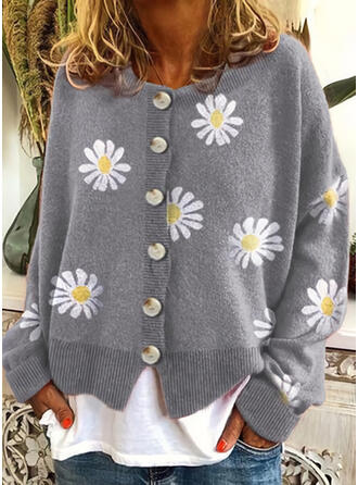 Print Floral Round Neck Casual Cardigan