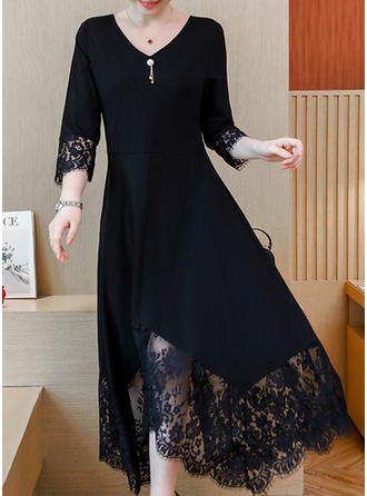 Lace/Solid 3/4 Sleeves A-line Vintage/Little Black/Casual/Party/Elegant Midi Dresses